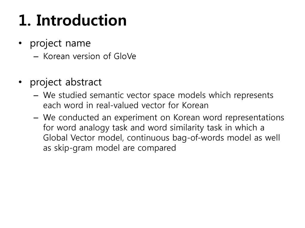 Korean version of GloVe Applying GloVe & word2vec model to