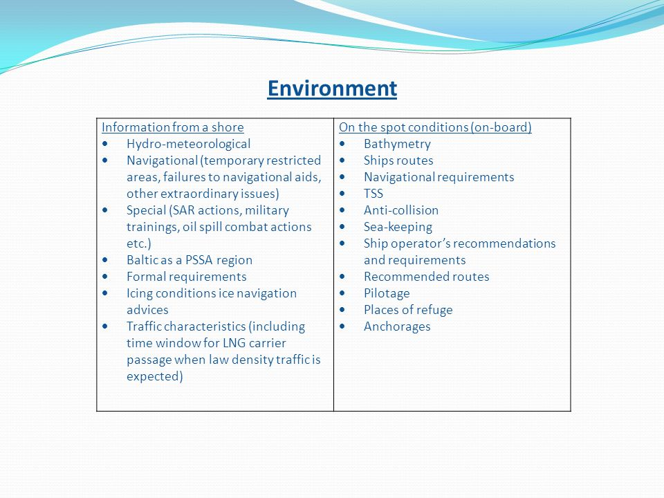 Environment Information from a shore Hydro-meteorological