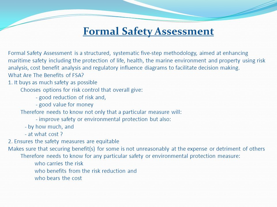 Formal Safety Assessment