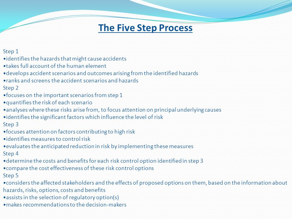 The Five Step Process Step 1