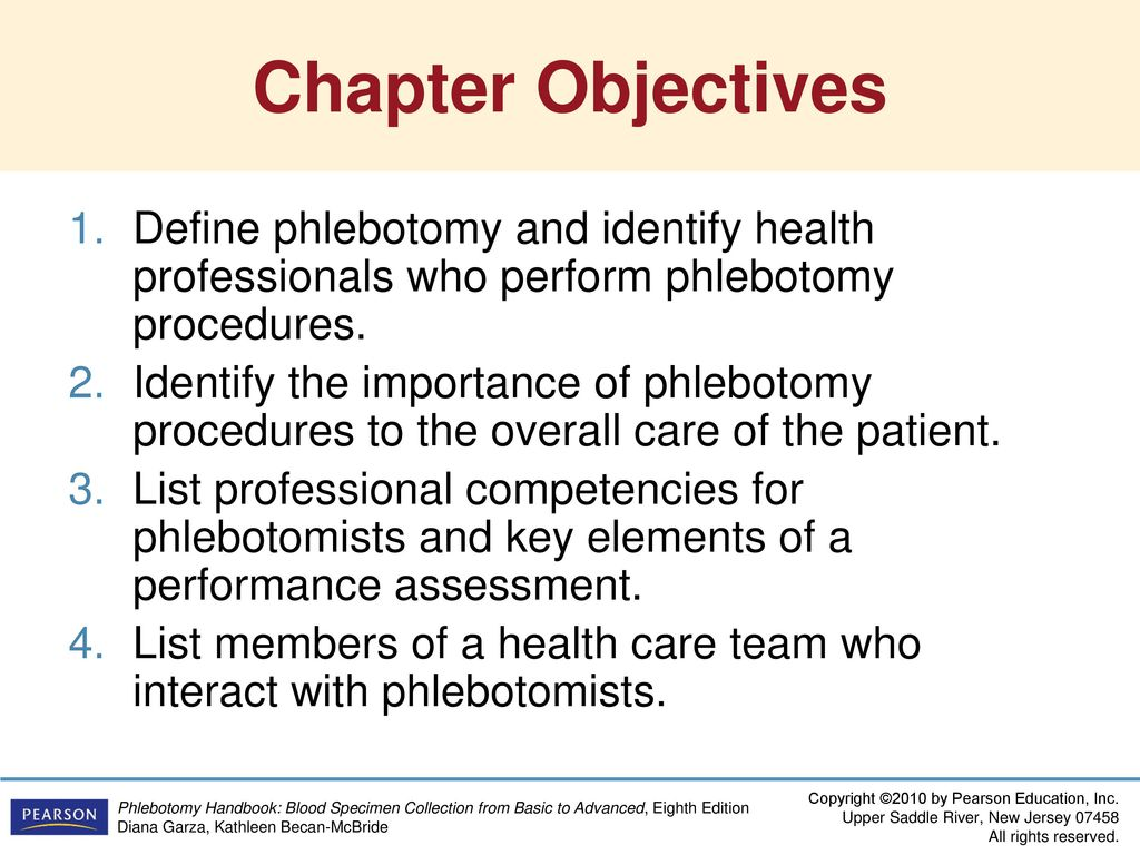 Chapter Objectives Define phlebotomy and identify health professionals who  perform phlebotomy procedures.