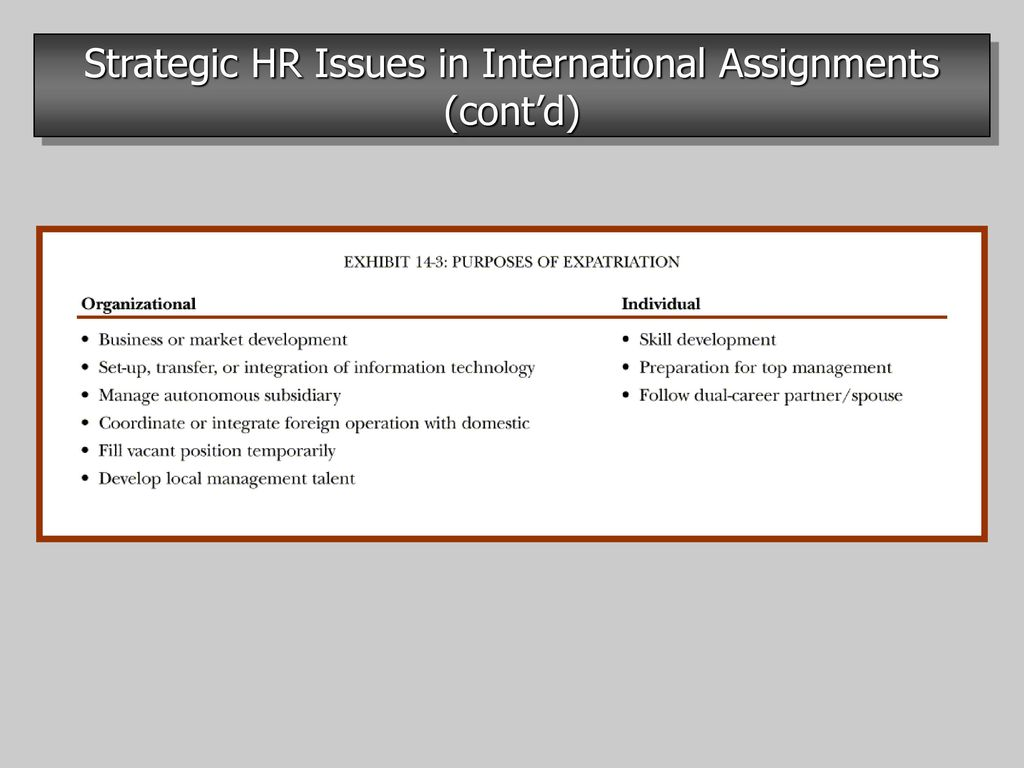 strategic hr issues in international assignments