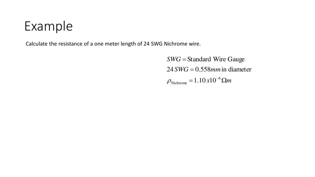 Circuits ap physics c ppt download 32 example calculate the resistance of a one meter length of 24 swg nichrome wire keyboard keysfo Images