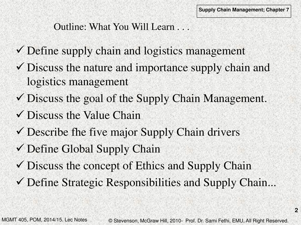 Chapter 7: Supply Chain and Logistics Management - ppt download