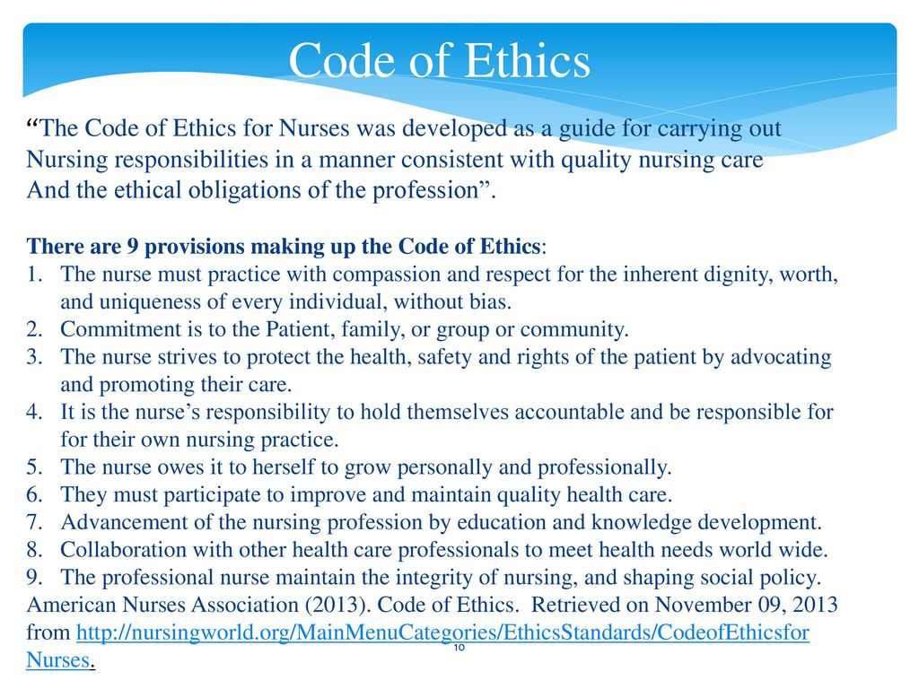 Code ethics nurse of View the
