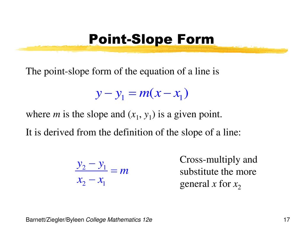 point slope form math definition  Chapter 11 Linear Equations and Graphs - ppt download