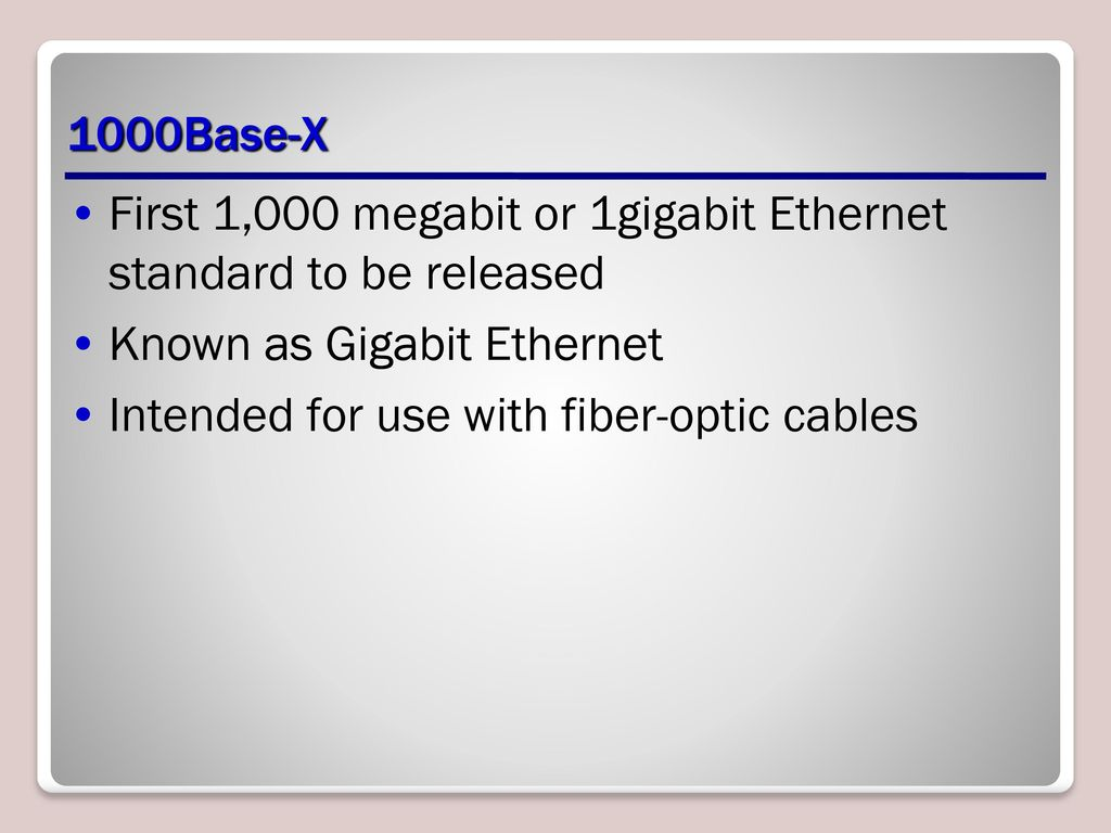 Lan Technologies Lesson Ppt Download Gigabit Ethernet Wiring 1000base X First 1000 Megabit Or 1gigabit Standard To Be Released Known As