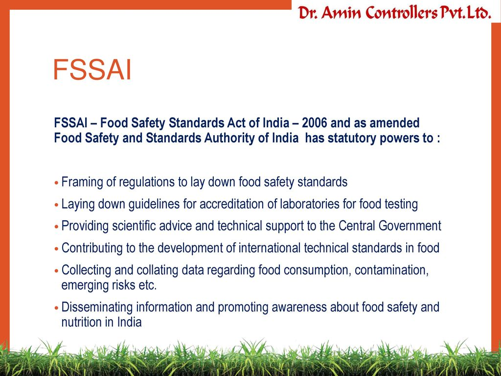 FSSAI+FSSAI+%E2%80%93+Food+Safety+Standards+Act+of+India+%E2%80%93+2006+and+as+amended+Food+Safety+and+Standards+Authority+of+India+has+statutory+powers+to+%3A