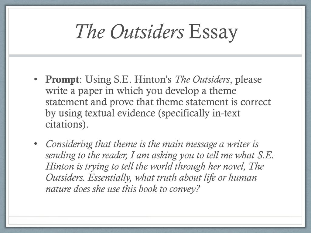 Advanced English Essay The Outsiders Essay Business Essay Format also Research Essay Proposal Example Answer One Of The Questions On A Postit Note And Then Stick It On  Persuasive Essay Example High School