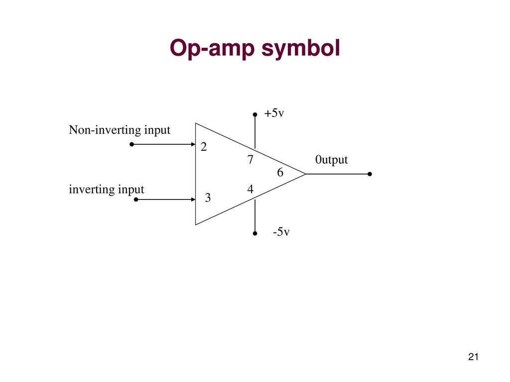 Linear Integrated Circuits And Applications Ppt Download Lm380 Power Audio Amplifier Circuit 21 Op Amp Symbol 5v Non Inverting Input 2 7 0utput 6 4 3