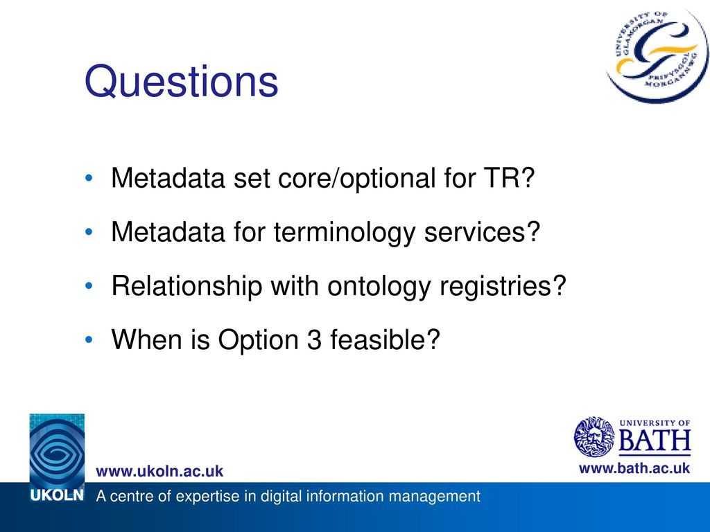 Questions Metadata set core/optional for TR