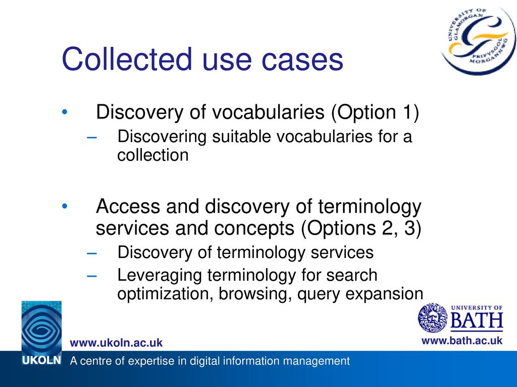 Collected use cases Discovery of vocabularies (Option 1)