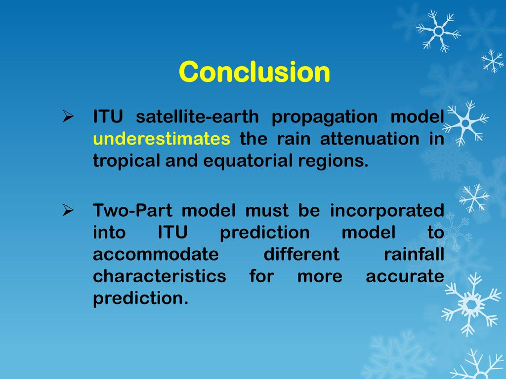 Conclusion ITU satellite-earth propagation model underestimates the rain attenuation in tropical and equatorial regions.