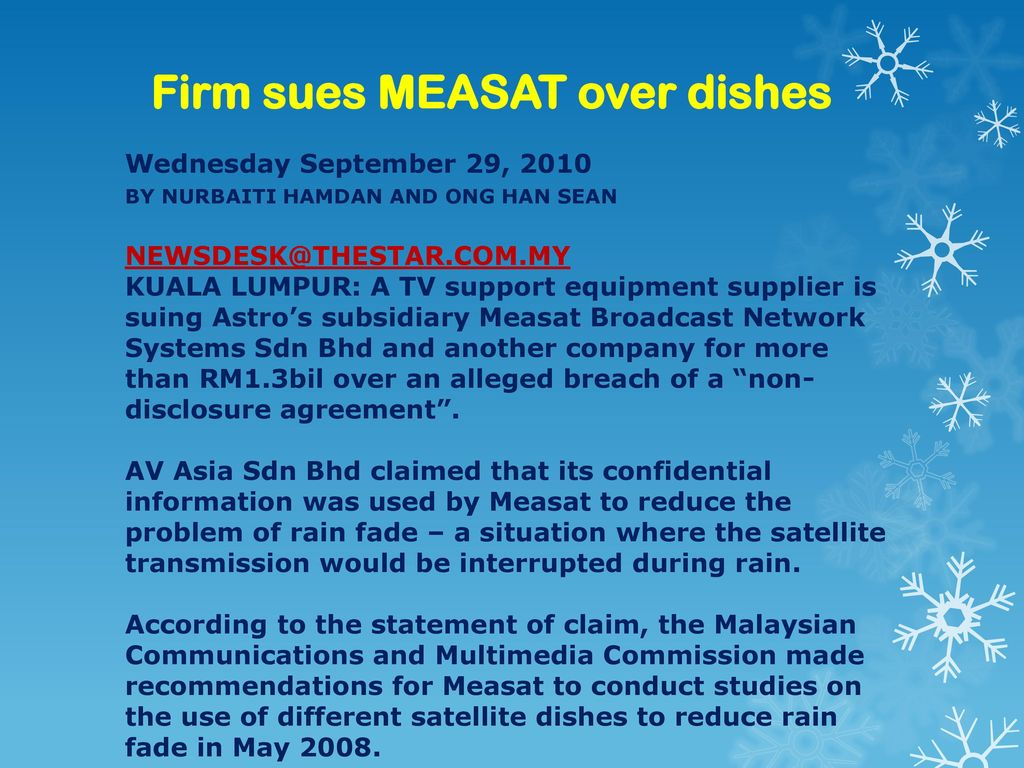 Firm sues MEASAT over dishes