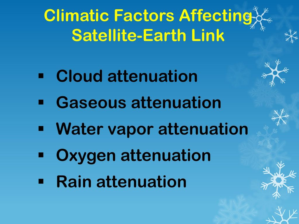 Climatic Factors Affecting Satellite-Earth Link