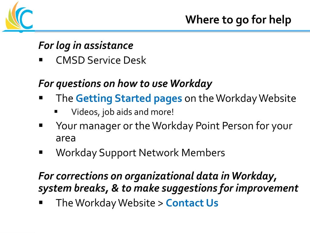 Workday at CMSD Employee Self Service - ppt download