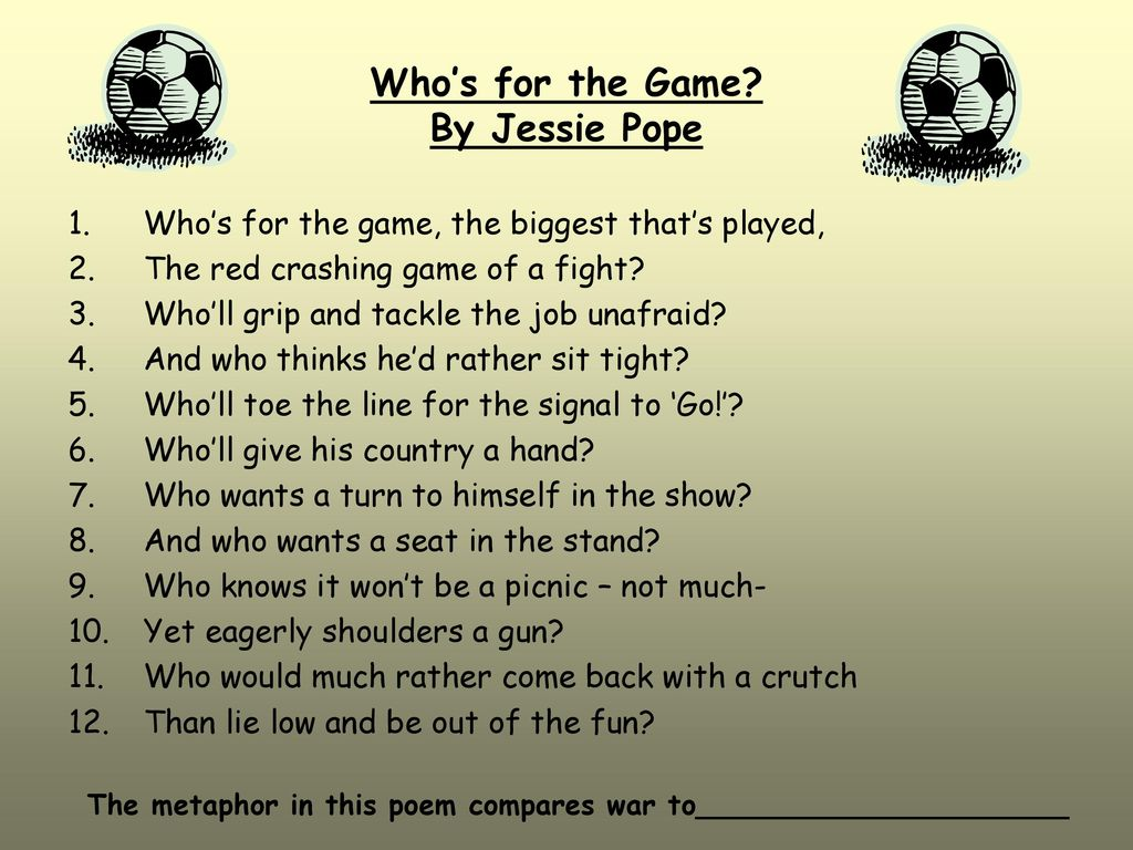 jessie pope whos for the game