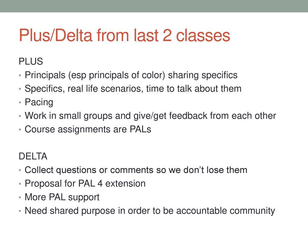 Plus Delta From Last 2 Classes