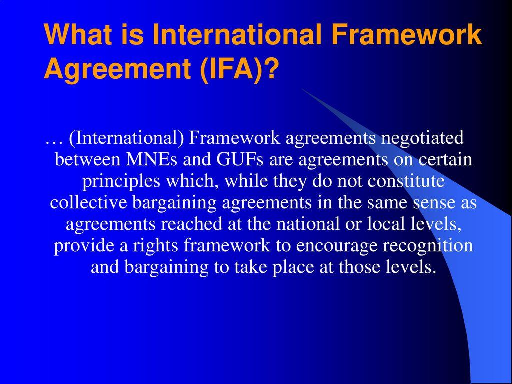 International Framework Agreements Role Of National Level Unions