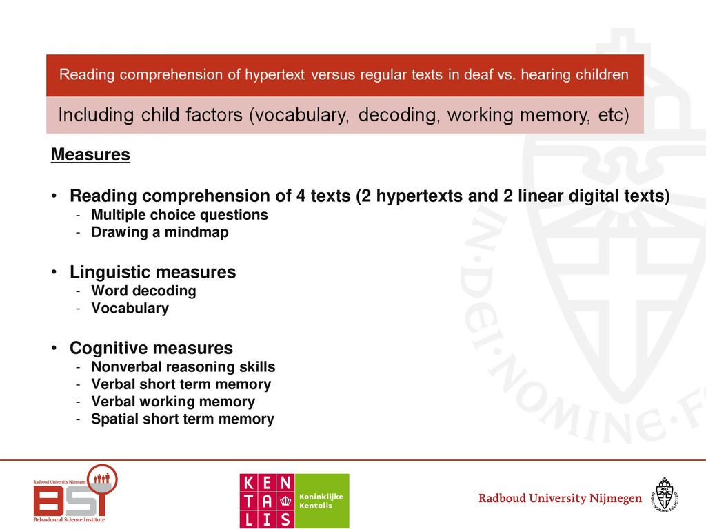 Reading comprehension of hypertexts - ppt download