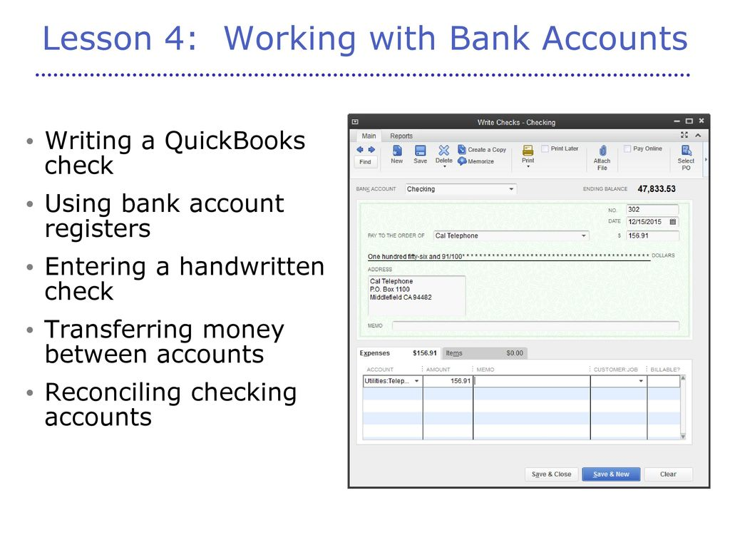 Lesson 4: Working with Bank Accounts
