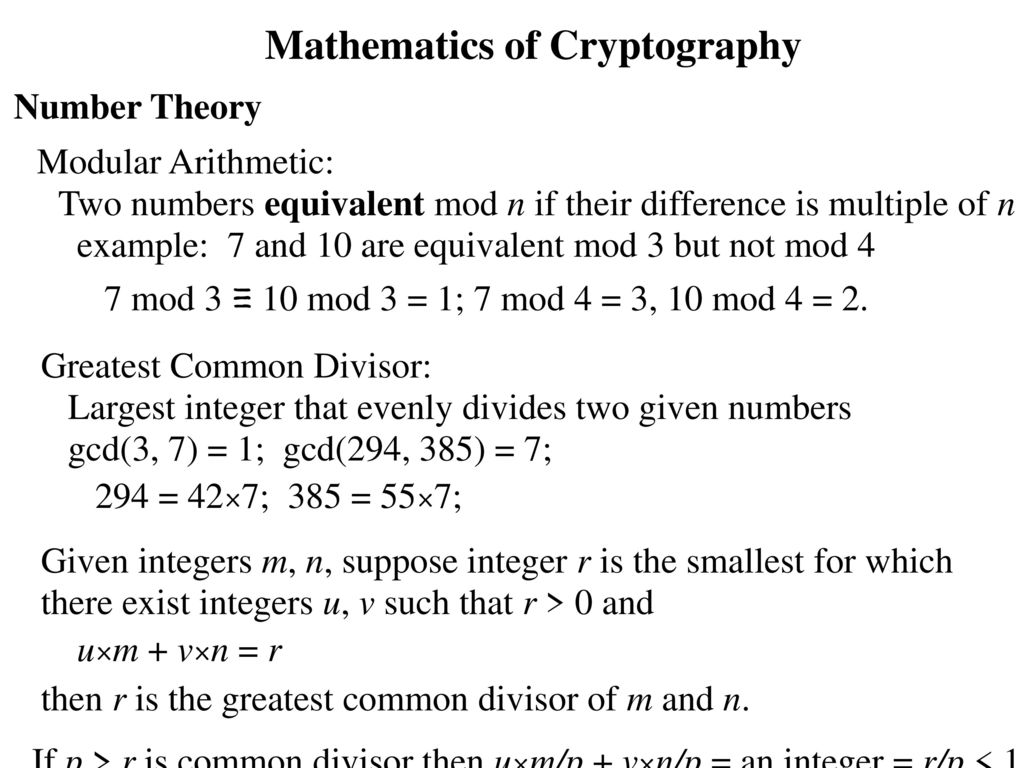 Mathematics of Cryptography - ppt download