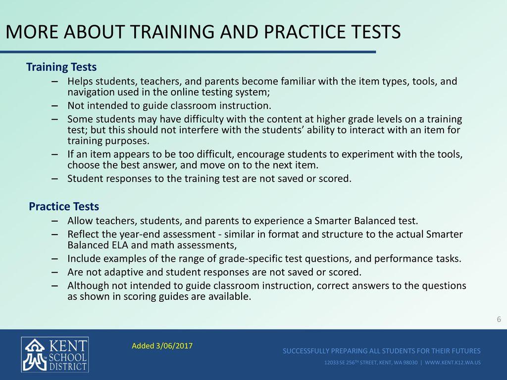 KENT SCHOOL DISTRICT Smarter Balanced Summative Test Administration ...
