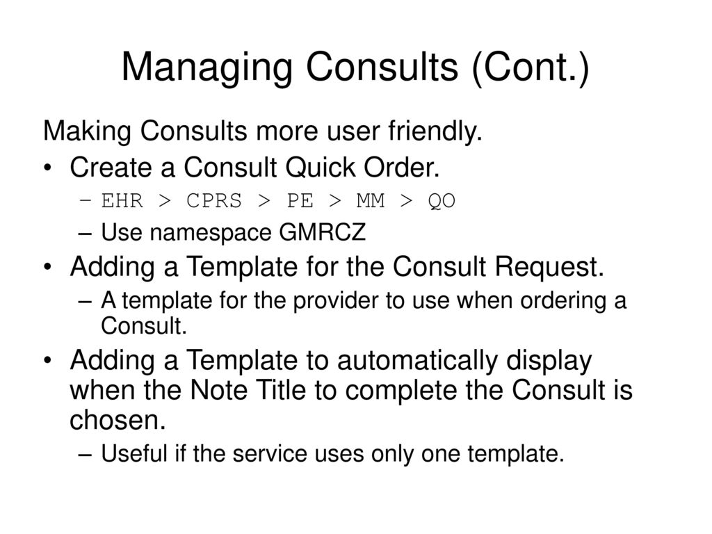 Consults Ppt Download