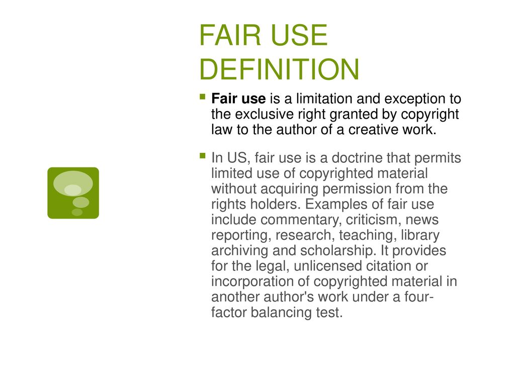 Fair Use V Free Uses The Case Of Italian Law Ppt Download