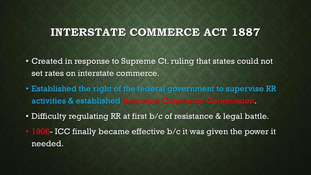 interstate commerce act 1887 definition