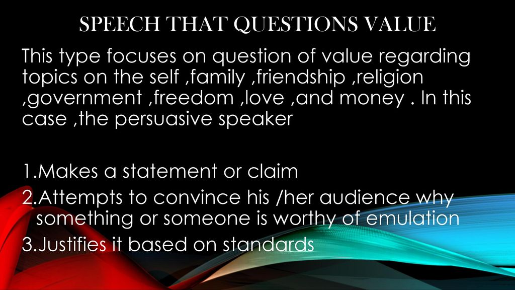 question of value speech topics