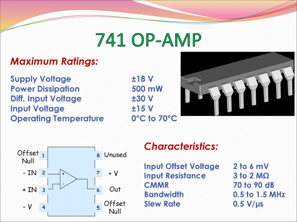 Op Amp Basics Linear Applications Ppt Download As Comparator Circuit The 741 Compares Maximum Ratings Characteristics Supply Voltage 18 V