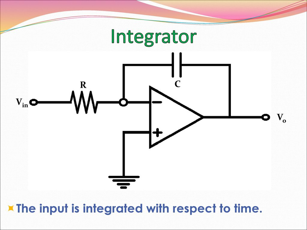 Op Amp Basics Linear Applications Ppt Download Rc Integrator Circuit 23 R C Vin Vo The Input Is Integrated With Respect To Time