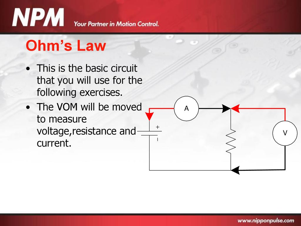 Basic Electronics Ppt Download Resistance Measurement Circuit Diagram Ohms Law This Is The That You Will Use For Following Exercises