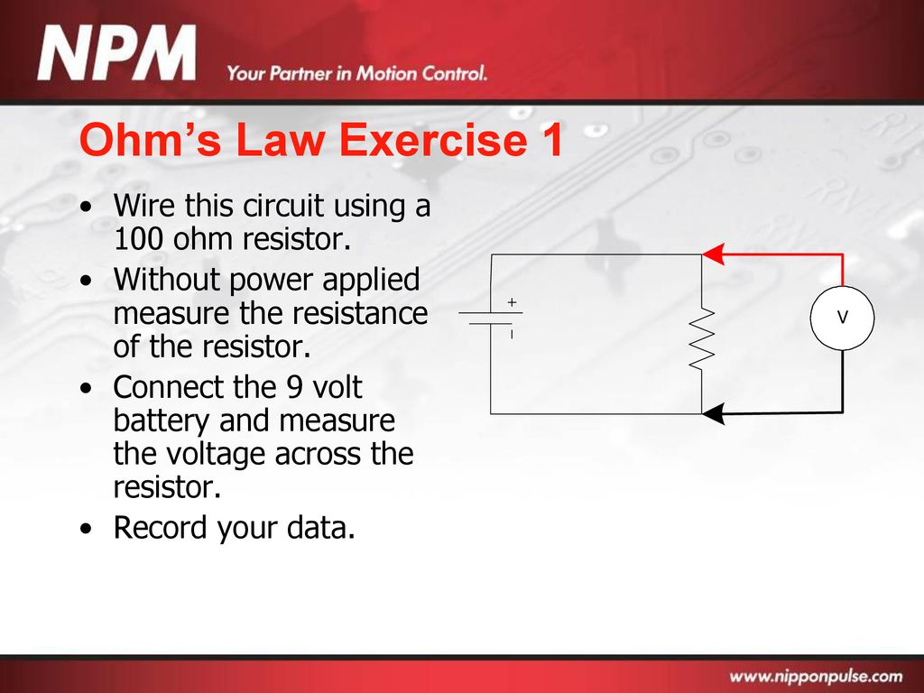 Basic Electronics Ppt Download 1 Wire Circuit Diagram Ohms Law Exercise This Using A 100 Ohm Resistor