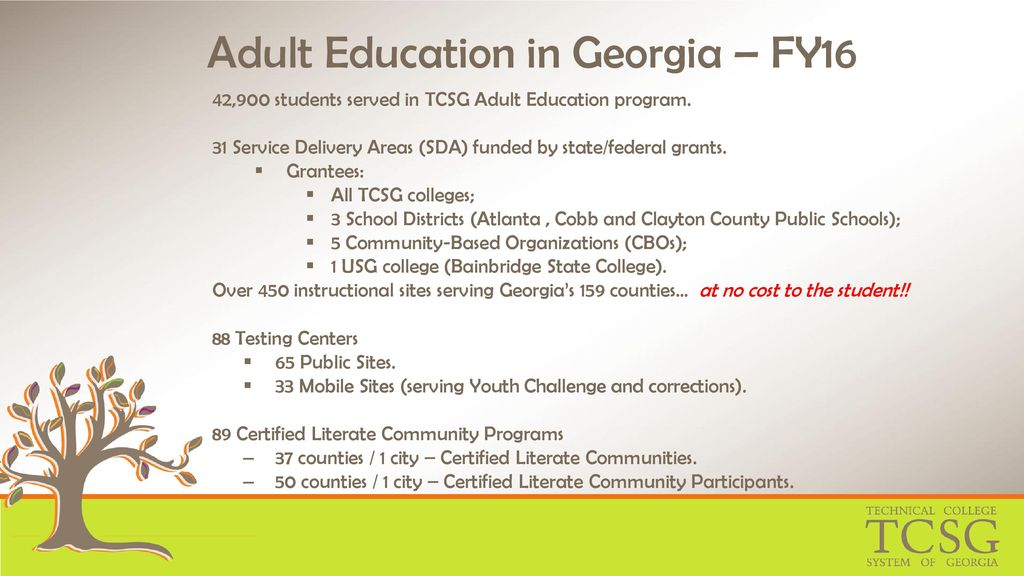The State of Adult Education in Georgia - ppt download