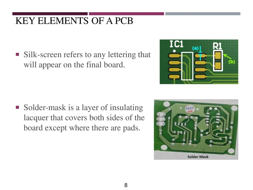 Printed Circuit Board Design Ppt Download Or Singlesided Copper Clad Fr4 Epoxy Sheet For Key Elements Of A Pcb Silk Screen Refers To Any Lettering That Will Appear On