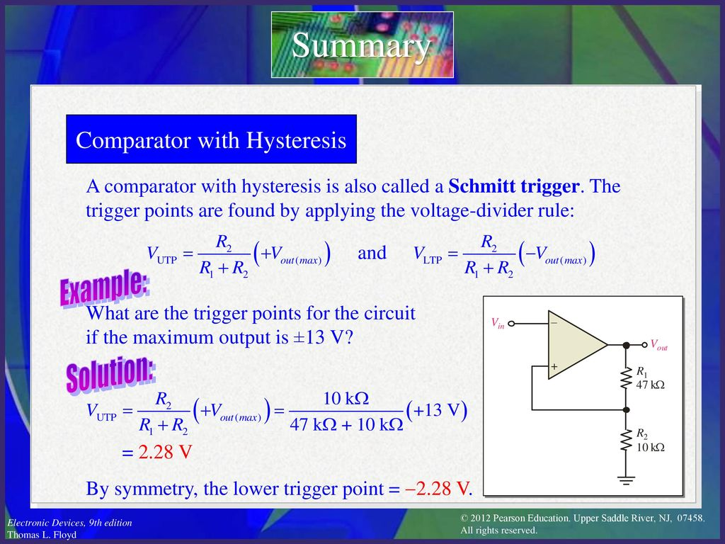 Electronic Devices Ninth Edition Floyd Chapter Ppt Download Figure 5 Comparator Circuit With Hysteresis