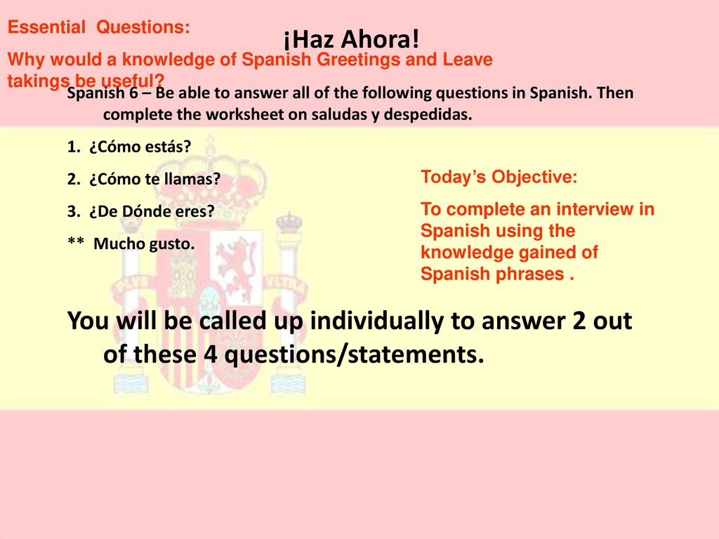 Why Would It Be Good To Know Hellos And Goodbyes In Spanish Ppt