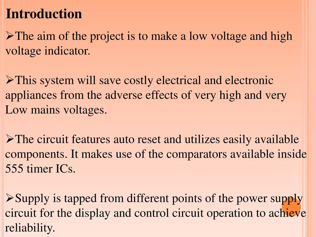 Load Cutoff Switch Upon Over Voltage Or Under Ppt Download Controlled Using The 555 Introduction Aim Of Project Is To Make A Low And High
