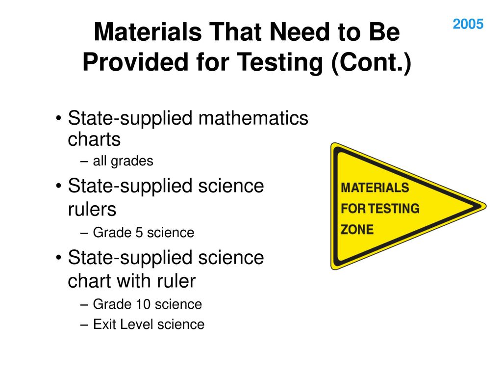 Materials That Need to Be Provided for Testing (Cont.)