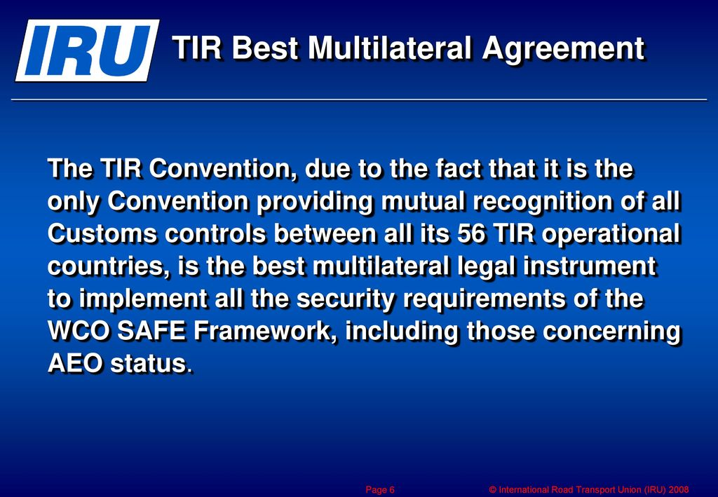Implementation Of The Wco Safe Framework Through The Tir Convention