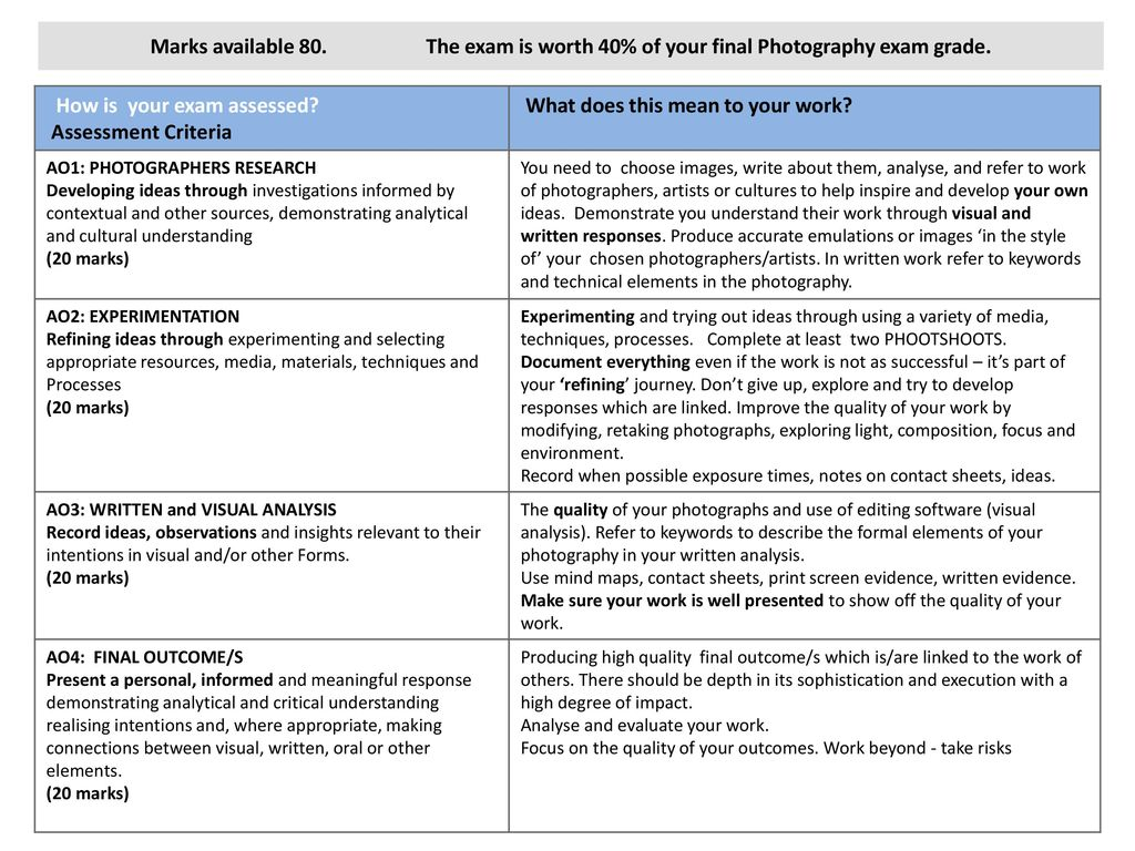 Photography Be Creative Gcse Photography Exam 2017 Student Handbook Ppt Download