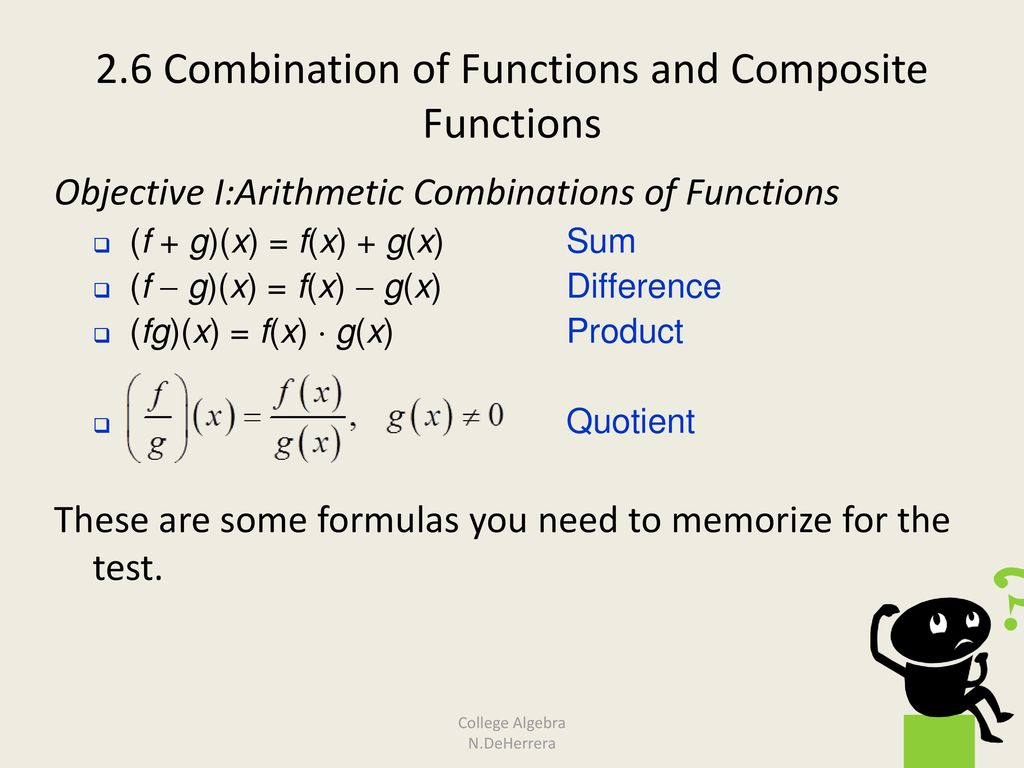 2 6 Combination of Functions and Composite Functions - ppt