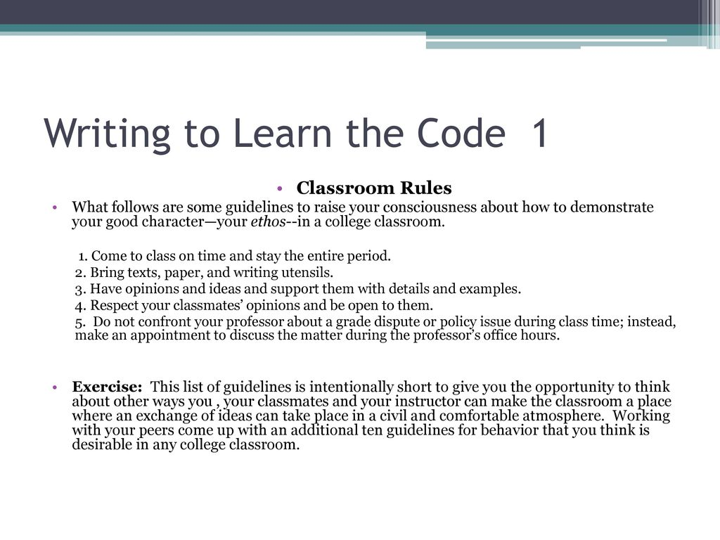 Writing to Learn College Codes  - ppt download
