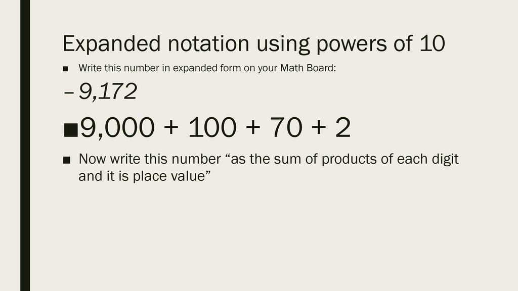 "expanded form using powers of 10  Enter the room code ""Reisnermath"" - ppt download"