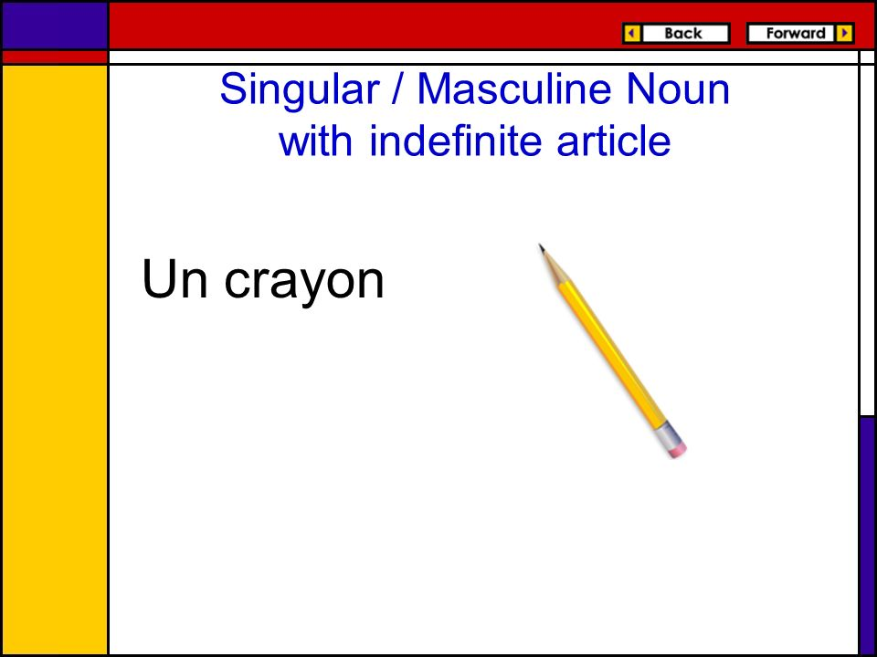 Singular / Masculine Noun with indefinite article