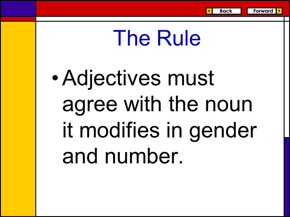 The Rule Adjectives must agree with the noun it modifies in gender and number.