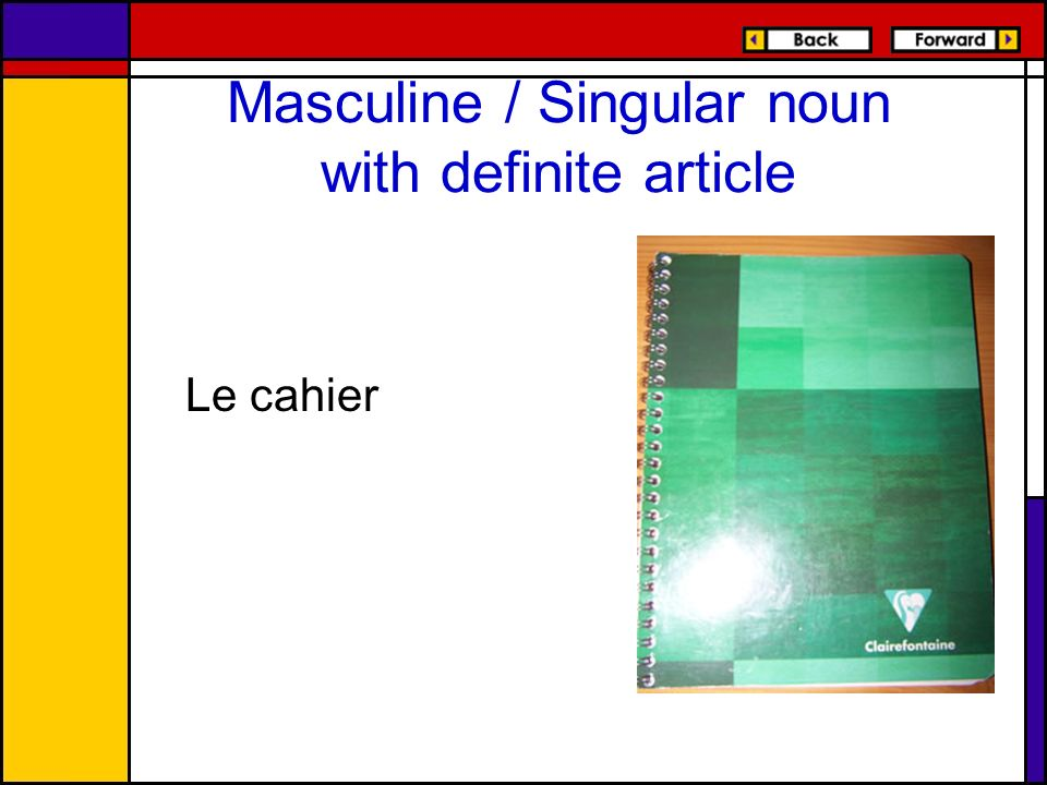 Masculine / Singular noun with definite article