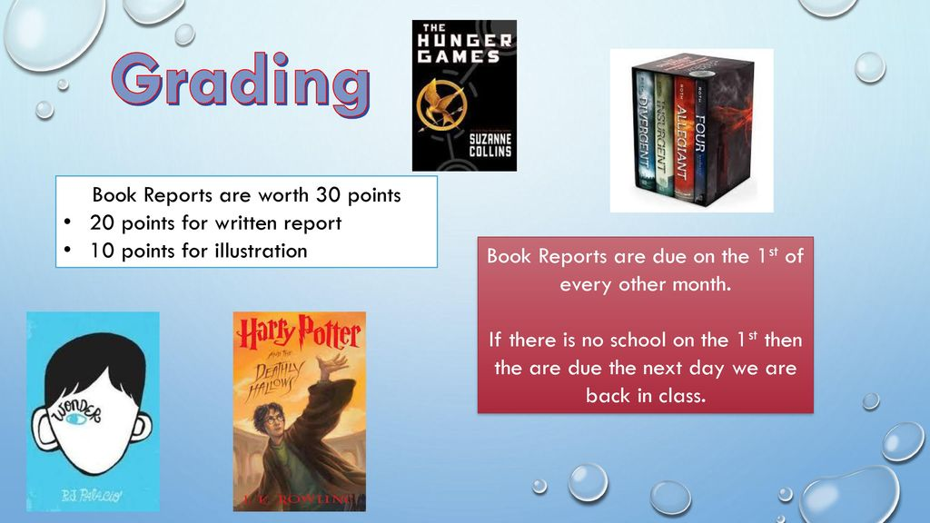 one page typed report and illustration of book ppt download